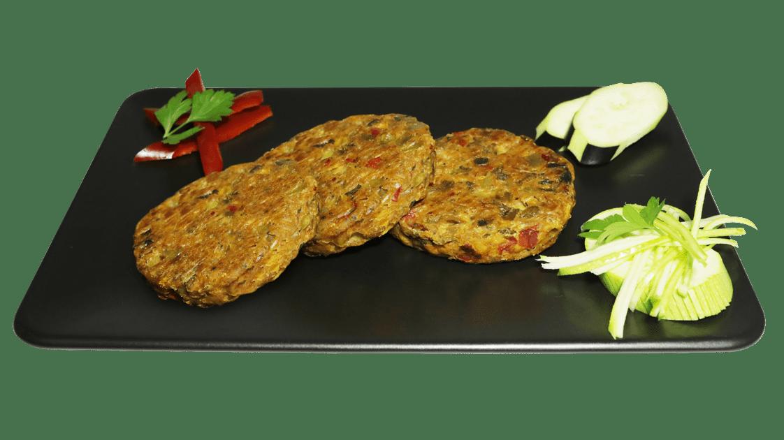 -Vegan Mantarlı Sebze Burger, hazır pişir ye, vegan yemek, itikat Vegan Mantarlı Sebze Burger